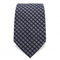 Krawatte 7,5 cm Feines Webmuster Klassisch, Dunkelblau / Grauweiß