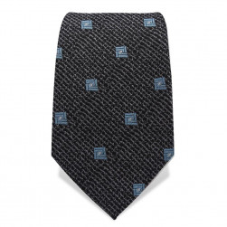 Krawatte 7,5 cm Meliert mit Quadrat, Schwarz / Grau / Hellblau