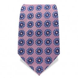 Krawatte 7,5 cm Gestickte Blümchen, Rosa / Hellblau