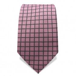 Krawatte 7,5 cm Feines Web-Karo, Rosa / Schwarz