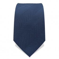 Krawatte 7,5 cm Uni Gewebte breite Streifen 'Fischgrät', Stahl-Blau