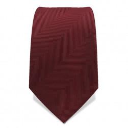 Krawatte 7,5 cm Uni Gewebte breite Streifen 'Fischgrät', Rubin-Rot