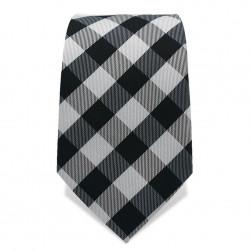 Krawatte 7,5 cm Klassisches Karo (groß), Schwarz / Weiß