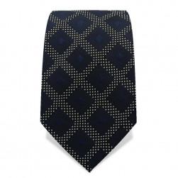 Krawatte 7,5 cm Gewebtes großes Karo. Nachtblau / Blau / Schwarz / Weiß