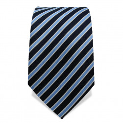 Krawatte 7,5 cm Klassischer Streifen, Dunkelblau / Hellblau / Weiß