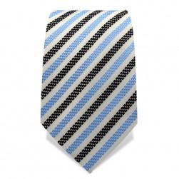 Krawatte 7,5 cm Schicker gewebter Streifen, Weiß / Hellblau / Schwarz
