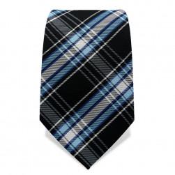 Krawatte 7,5 cm Klassisches Schotten-Karo, Schwarz / Hellblau / Weiß