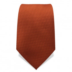 Krawatte 7,5 cm Uni Webmuster, Warmes Kupfer-Braun
