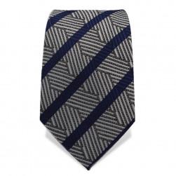 Krawatte 7,5 cm Fein gewebtes 'Artist' Muster, Streifen, Grau / Schwarz / Blau