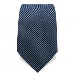 Krawatte 7,5 cm Webmuster, Stahlblau-Schwarz