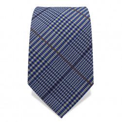 Krawatte 7,5 cm Klassisches feines Karo, Weiß / Hellblau / Braun
