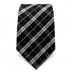 Krawatte 7,5 cm Klassisches Schotten-Karo, Schwarz / Weiß