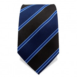 Krawatte 7,5 cm Klassischer Streifen, Webstruktur, Schwarz / Blau / Blau