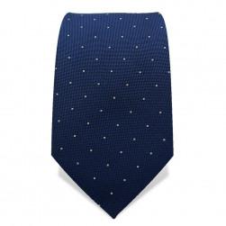 Krawatte 7,5 cm Kleine Punkte, Dunkelblau / Weiß