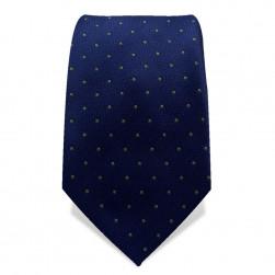 Krawatte 7,5 cm Kleine Punkte, Dunkelblau / Gelb