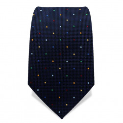 Krawatte 7,5 cm Kleine Punkte, Dunkelblau / Multi-Color