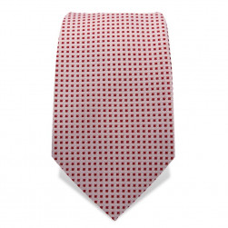 Krawatte 7,5 cm Gewebte kleine Quadrate, Weiß / Rot