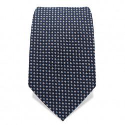 Krawatte 7,5 cm Feine gewebte Quadrate, Dunkelblau / Hellblau / Weiß