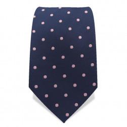 Krawatte 7,5 cm Punkte, Dunkelblau / Rosa