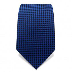 Krawatte 7,5 cm Kleinkaro (Checker), Blau / Schwarz