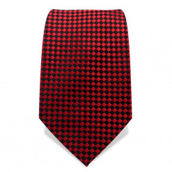 Krawatte 7,5 cm Kleinkaro (Checker), Rot / Schwarz