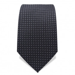 Krawatte 7,5 cm Feines Webmuster, Anthrazit / Grau / Weiß