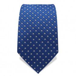 Krawatte 7,5 cm Punkte Webstreifen, Blau / Weiß