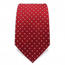 Krawatte 7,5 cm Punkte Webstreifen, Rot / Weiß