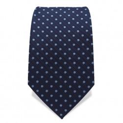 Krawatte 7,5 cm Punkte Webstreifen, Dunkelblau / Hellblau