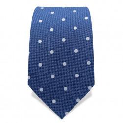 Krawatte 7,5 cm Punkte, Jeans-Blau / Weiß