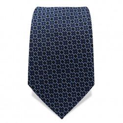 Krawatte 7,5 cm Feines Webmuster Quadrate, Dunkelblau / Hellblau