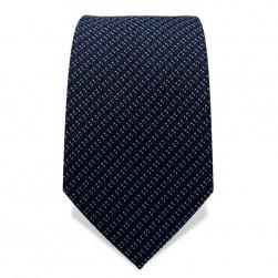 Krawatte 7,5 cm Feines Webmuster gepunktete Streifen, Dunkelblau / Hellblau