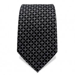 Krawatte 7,5 cm Feines Webmuster, Schwarz / Grau / Weiß