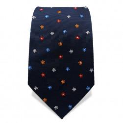 Krawatte 7,5 cm Kleine Blümchen, Dunkelblau / Bunt