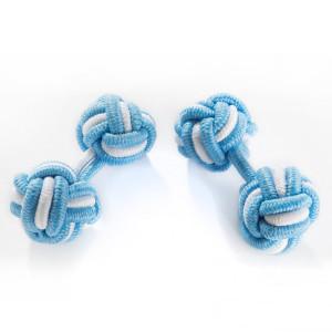 Seidenmanschettenknoten hellblau/weiß