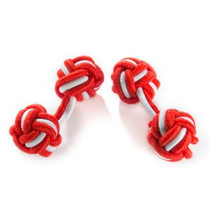 Seidenmanschettenknoten rot/weiß