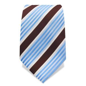 Krawatte 8,5 cm Streifenvariation, Braun / Weiß / Blau