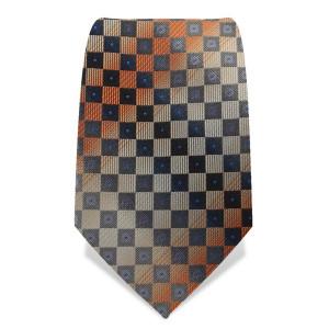 """Krawatte 8,5 cm """"Artist"""" Karo, Orange / Grau / Creme"""