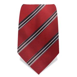 Krawatte 8,5 cm Klassischer Streifen, Rot / Grau / Schwarz / Weiß