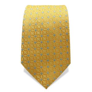 Krawatte 7,5 cm Feines Webmuster Punkte, Gelb / Hellblau
