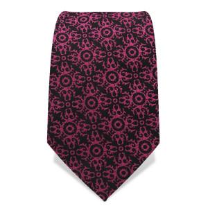 Krawatte 7,5 cm Feines Webmuster Ornamente, Schwarz / Pink