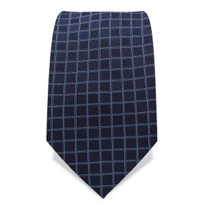 Krawatte 7,5 cm Feines Web-Karo, Dunkelblau / Hellblau