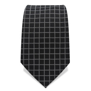 Krawatte 7,5 cm Feines Web-Karo, Schwarz / Weiß