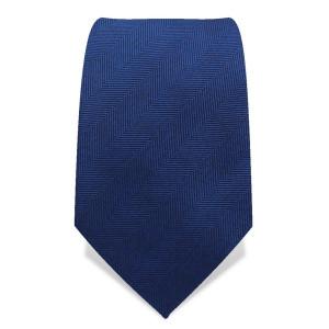 Krawatte 7,5 cm Uni Gewebte breite Streifen 'Fischgrät' (schmal), Mittel-Blau