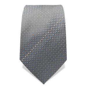 Krawatte 7,5 cm Feines Punktemuster, Silber-Grau / Hellblau / Weiß