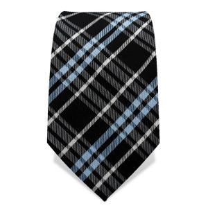 Krawatte 7,5 cm Klassisches Schotten-Karo II, Schwarz / Hellblau / Weiß