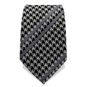 Krawatte 7,5 cm Fein gewebter Hahnentritt, Streifen, Schwarz / Weiß / Grau