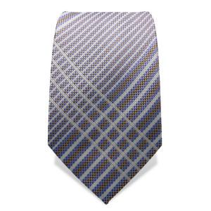 Krawatte 7,5 cm Artist gekreuzte Streifen, fein gewebt, Weiß / Hellblau / Braun