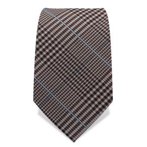 Krawatte 7,5 cm Klassisches feines Karo, Braun / Weiß / Hellblau