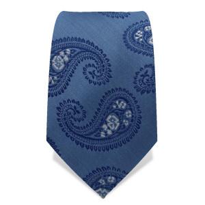 Krawatte 7,5 cm Großes Paisley, Stahl-Blau / Blau / Weiß